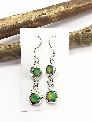 EARRINGS Mexico Sterling Silver Plated Green Resin Handmade Fair Trade Taxco