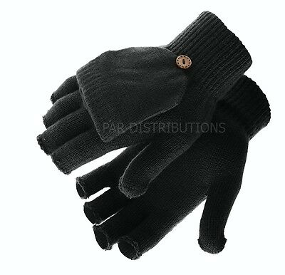 Black Thermal Ladies Mens Gloves Mittens Fingerless Flap Thermal Winter 2 In 1