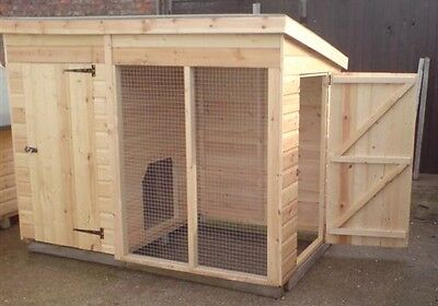 8 X 4  Dog Kennel And Run  With Side Door