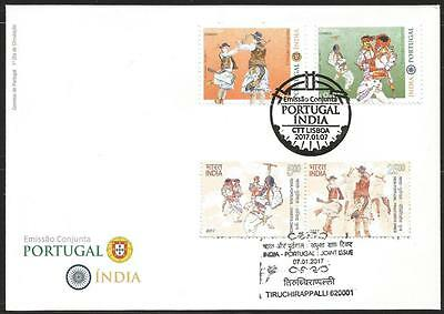 India and Portugal Joint Issue mixed FDC, stamps of both countries, music, dance