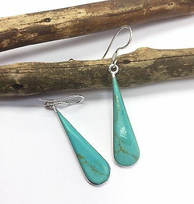 EARRINGS Mexico Teardrop Sterling Silver Plated Reconstituted Turquoise Gift