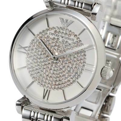 New EMPORIO ARMANI Ladies Watch Silver Crystal Pave Dial Stainless steel AR1925
