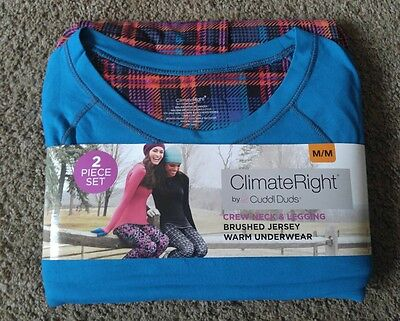 New Women's Med 10/12 Cuddl Duds Climate Right Top & Legging Pants Underwear Set