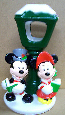 Disney Minnie & Micky Mouse Carollers Under The Lamp Post Tea Candle Holder