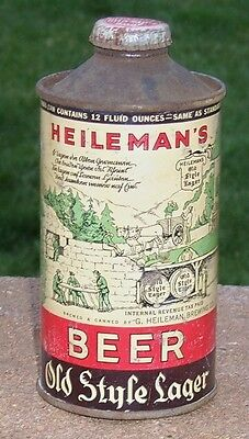*Rare Variation* Heileman's Old Style Low Profile Cone Top Beer Can-USBC 177-14