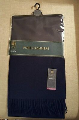 New Marks And Spencer Mens 100% Cashmere Scarf Navy Present