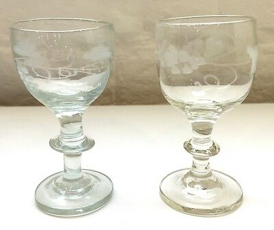 Pair Of Antique Georgian Blown And Etched Small Wine Baluster Glasses 9.5cm