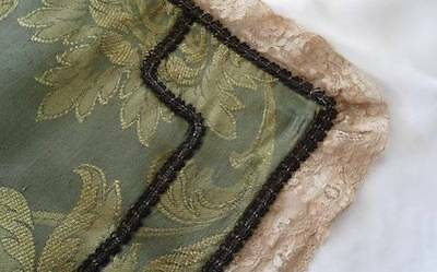 Vintage Green Gold Damask Table Runner Alencon Metallic Lace Trim 31""