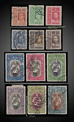 1912 THAILAND COMPLETE ISSUE HM King Vajiravudh RAMA VI of Siam USED