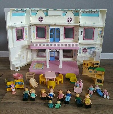 Vintage Fisher Price Loving Family Dream Doll House with Dolls & Furniture