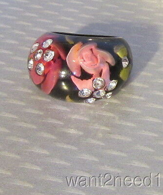 vtg back carved painted LUCITE BUBBLE ROSES RING sz 6 inset crystal RHINESTONES