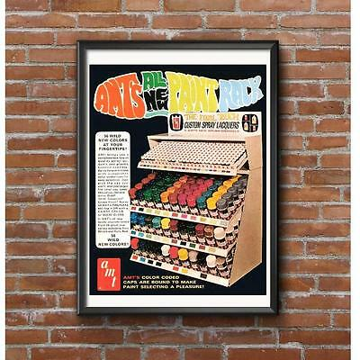 AMT Model Car Spray Paint Rack Promotional Poster - Troy Michigan