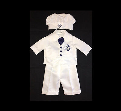 Baby Boys White Christening Suit Anchor Outfit, Sailor Suit Wedding Set Page Boy