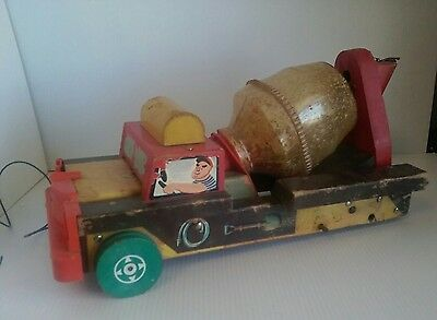 1960s VINTAGE FISHER PRICE WOOD DUMP Cement TRUCK WOODEN VEHICLE PLAY Toy 920