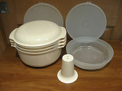 TUPPERWARE 8 pc set microwave stack cooker almond tupperwave cookware system
