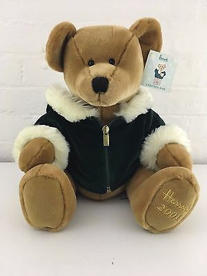 """Harrods 13"""" Large 2001 Christmas Bear date on foot Collectable with tag"""