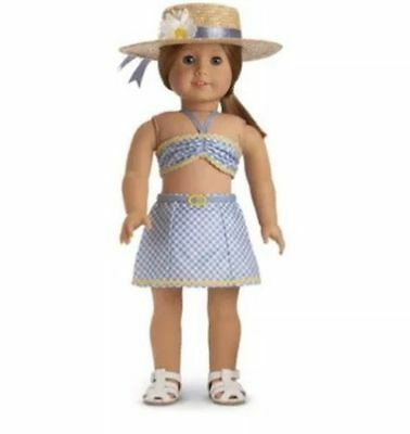 American Girl Doll Emily's 2 Piece Swimsuit with Hat Sandals NEW!! Molly Retired