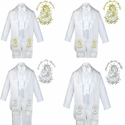Toddler Boy Gold  Silver Virgin Mary /& Pope Embroidery Baptism Stole Scarf Sash