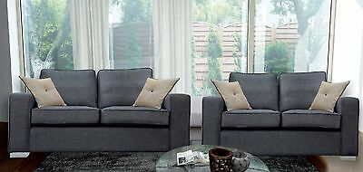 New 3 and 2 Seater Boston Sofas Grey Fabric Suite Chrome legs - Mega SALE