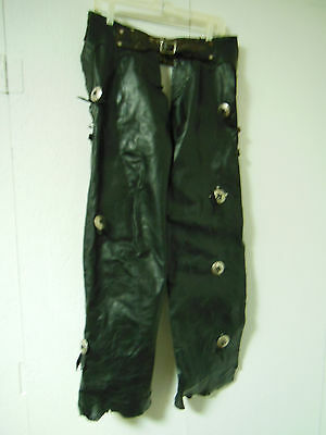 old school LEATHER MOTORCYCLE CHAPS with Silver Concho Detail