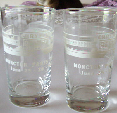 Lot Of 2 1953 Drinking Glasses -Chrysler  - Moncton Parts Plant