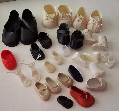 Lot Of 30 Assorted Vintage Doll Shoes For Larger Size Dolls - Some Pairs