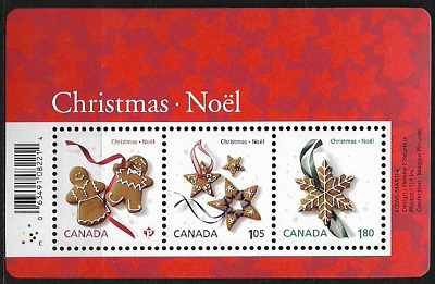 Canada Stamps — Souvenir Sheet of 3 — Christmas, Cookies #2581 — MNH