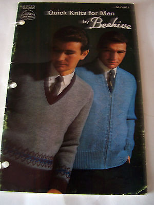 Vintage Beehive Knitting Pattern  - Quick Knits For Men - Sweater Patterns