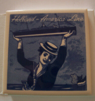 Vintage Ceramic Blue Delft Coaster For The Holland America Line With Box