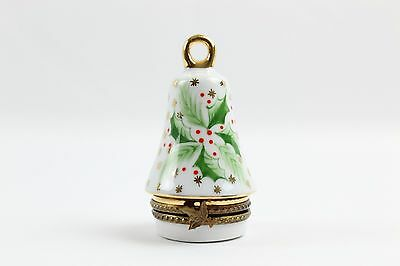 Peint Main Limoges White Green Red & Gold Bell Shaped Gift Franee