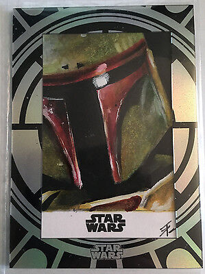 2015 Star Wars High Tek Gorgeous Boba Fett Sketch 1/1 Tim Proctor