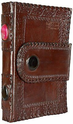 Imperial Leather Journals Notebook Dairy Decorated with Two Big Gems on Sides