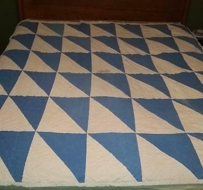 Vintage Patchwork Blue White Triangle block cutter quilt cotton fabrics handmade