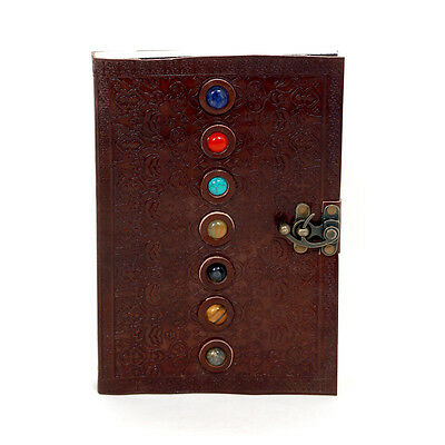 Imperial Leather Journals Notebook Composition Dairy Decorated with Seven Gems
