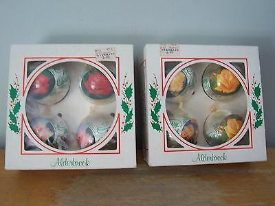 8 Vintage Unbreakable Alderbrook  Christmas Ornaments - Roses - Original Boxes