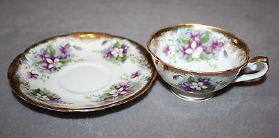 Demitasse Cup and Saucer Old Gold Crown M Japan Hand Painted