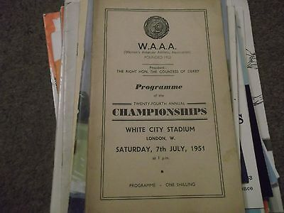Waaa Programme 24Th Annual Championships @ White City London 7Th July 1951