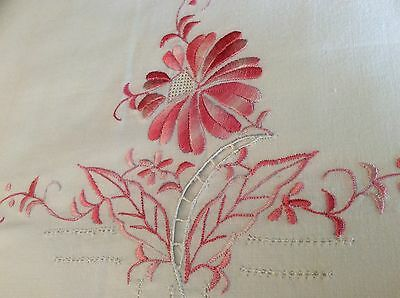 Vintage HERITAGE? White w/ Pink Embroidering Flat Double Sheet 80x100 No Tag