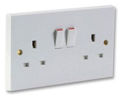 13A White Plastic Single Double Mains Wall Socket Plug Outlet Switch Switched A