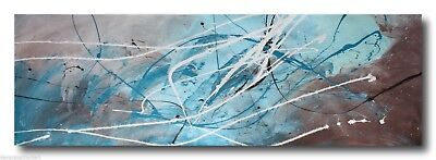 ABSTRACT CANVAS PAINTING turquoise brown. Modern wall art Australia