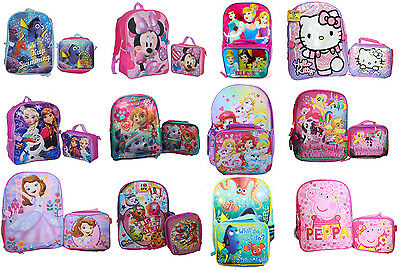 Disney Princess Girls Pink School Backpack Heart Lunch Box Book ...