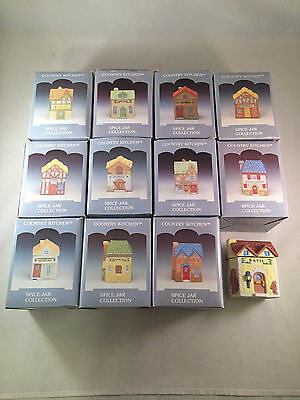 VTG Lot Set Of 12 Country Kitchen Ceramic Houses Spice Jars New In Box From 1994