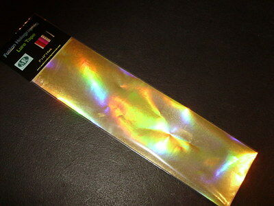 """3/"""" x 12/"""" 2PK FL GREEN HOLOGRAPHIC RAINBOW SCALE CLEAR FISHING LURE TAPE NEW!!"""