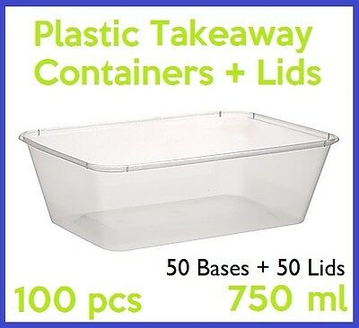 100 PC 750mL TAKEAWAY CONTAINER LID DISPOSABLE PLASTIC TAKE AWAY CLEAR