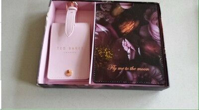 Ted Baker Shadow Floral Passport Holder And Luggage Tag BNIB