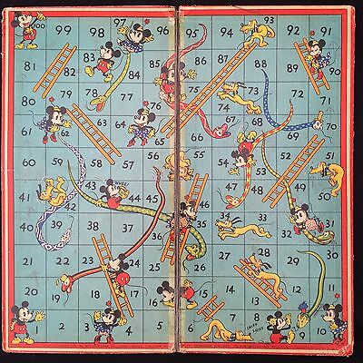 VERY RARE 1930s Walt-Disney and Micky Mouse Co. Ltd 'Snakes & Ladders' board
