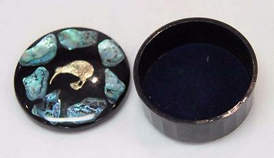 Vintage Black Genuine Paua Shell Trinket Box With Golden Kiwi Bird On Lid#10571