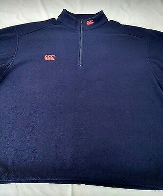 "Mens Canterbury Rugby fleece 2XL 56"" chest 1/4 zip navy"