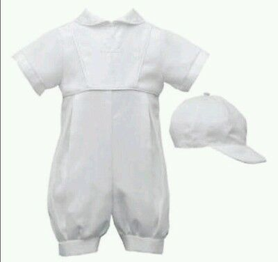 Boys baby Christening baptism romper cap embroidered cross 9-12 Joey Couture NEW
