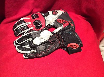 Alpinestars SP-8 White/Red/Black Leather Sports Motorcycle Gloves Small